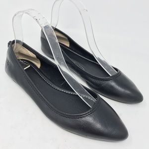 Frye Regina Black Leather Point Toe Ballet Flats